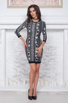 Черное платье с орнаментом Angela Ricci со скидкой