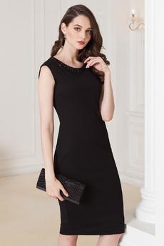 Черное платье с камнями Vilatte со скидкой