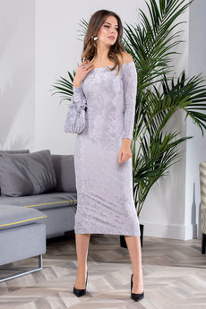 Серебристое вечернее платье RUXARA