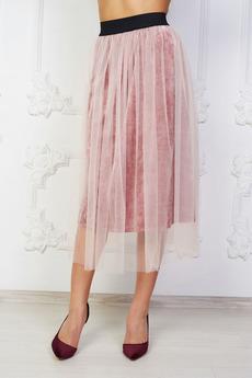 Розовая бархатная юбка Angela Ricci