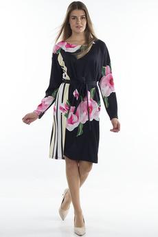Черное платье с цветами Bast со скидкой
