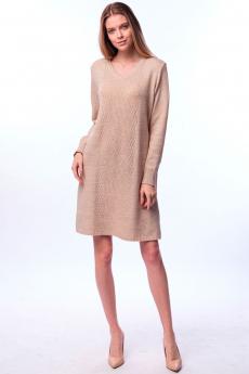 Бежевое трикотажное платье Kvinto